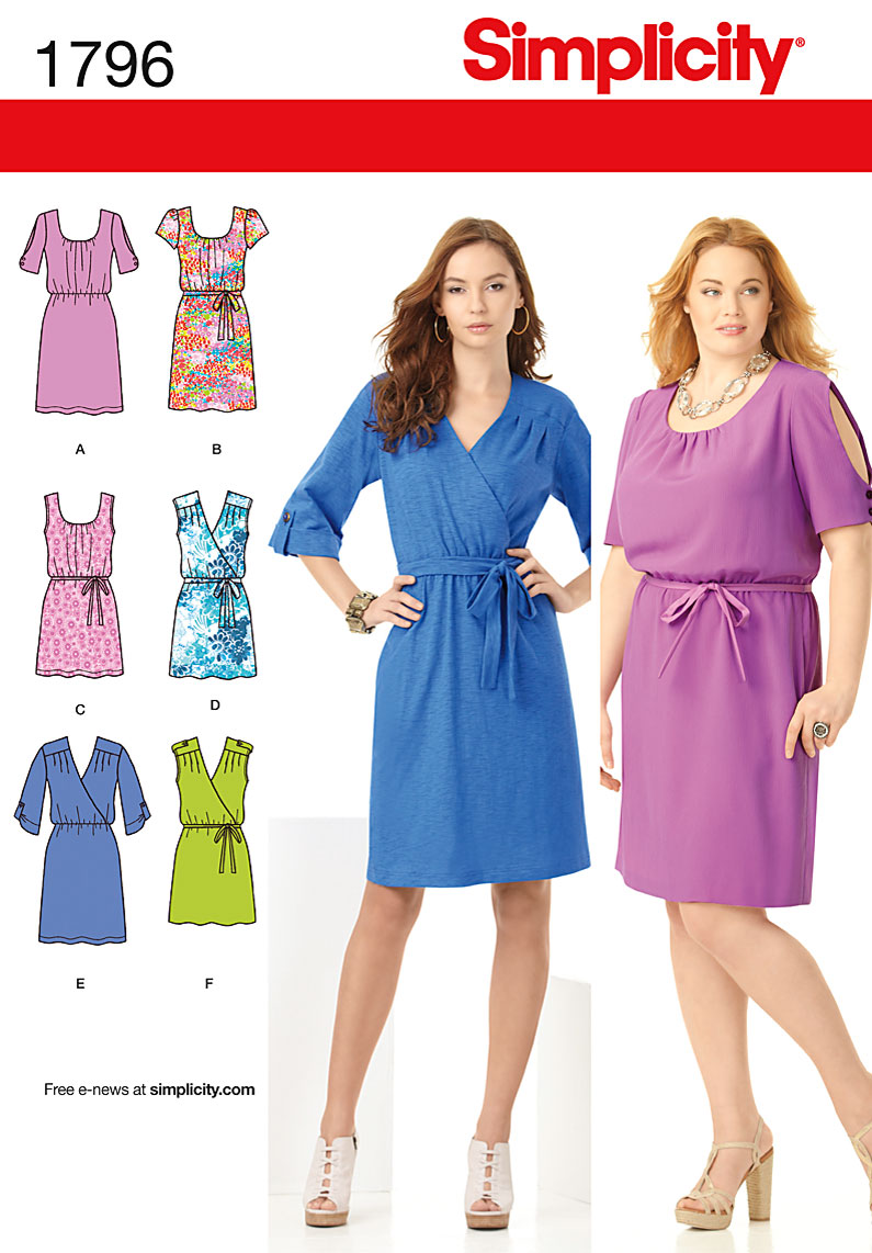 Simplicity 1796 Misses and Plus Dress sewing pattern