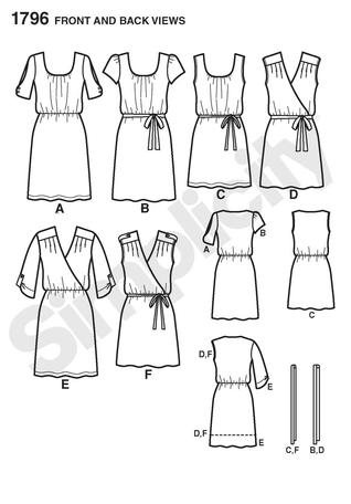 Simplicity 1796 Misses and Plus Dress Line Drawing