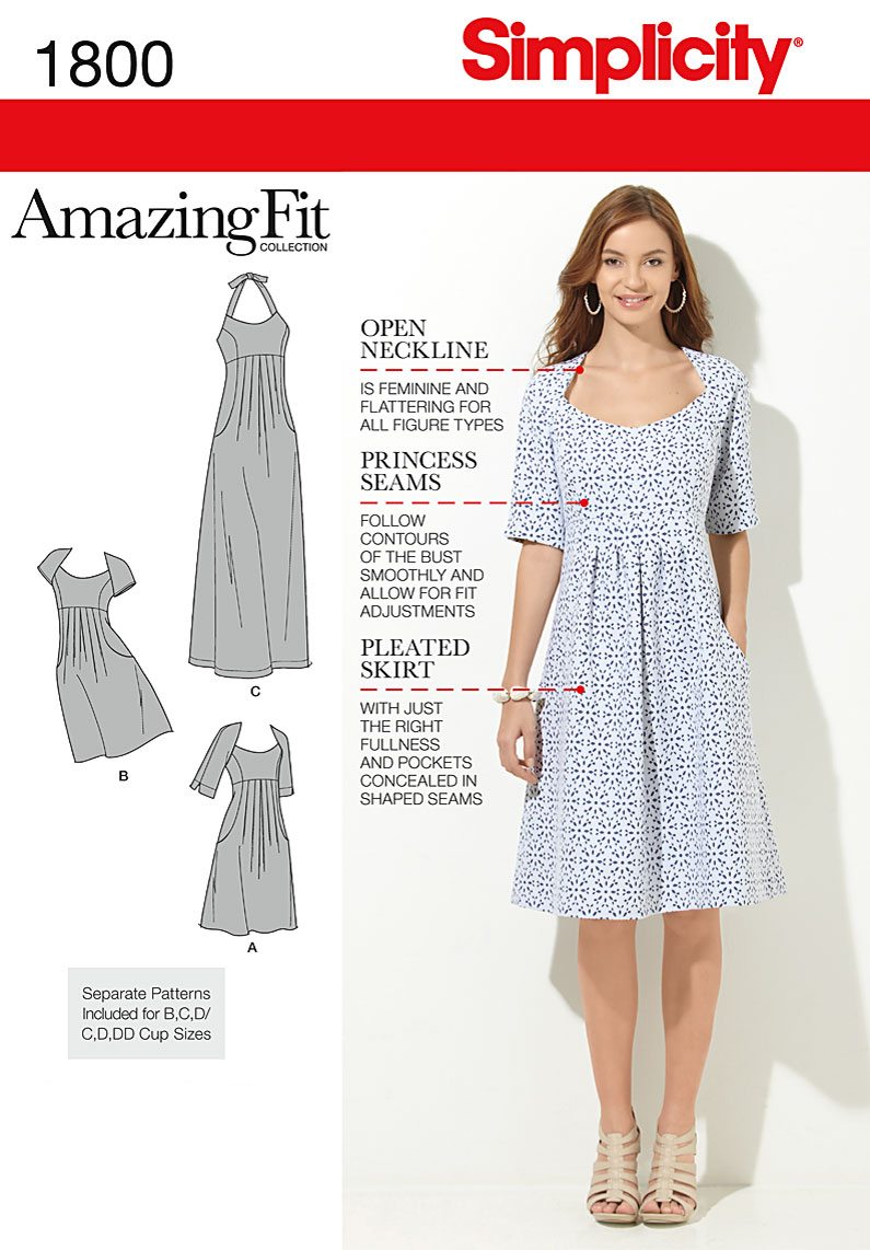 Simplicity Misses and Plus Dresses 1800