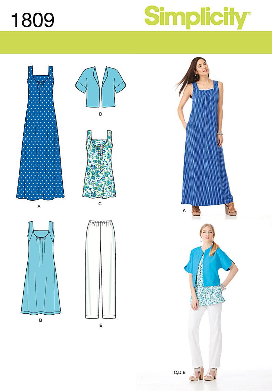 Simplicity Misses' & Plus Size Sportswear 1809