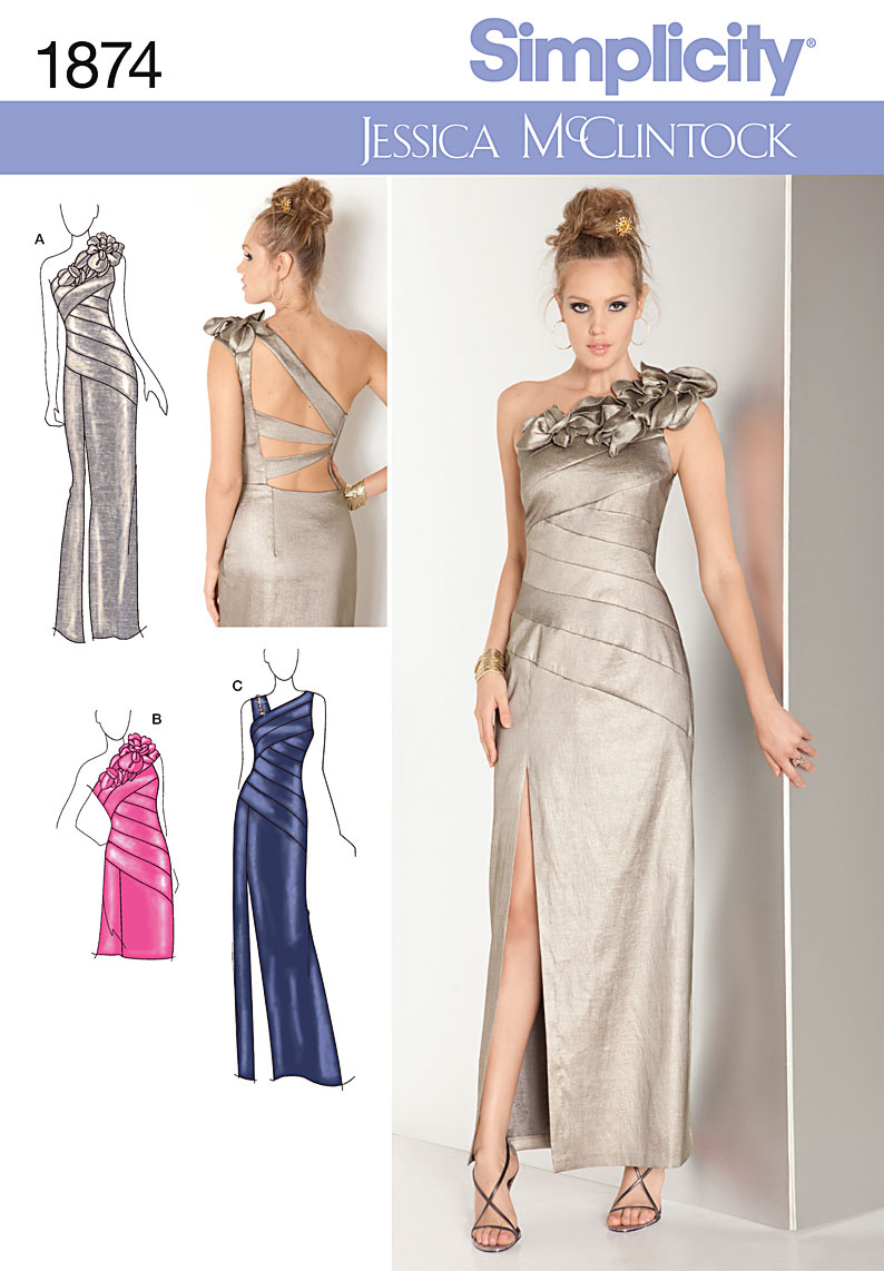 SIMPLICITY 1874 BRIDESMAID prom EVENING DRESS GOWN SEWING ...
