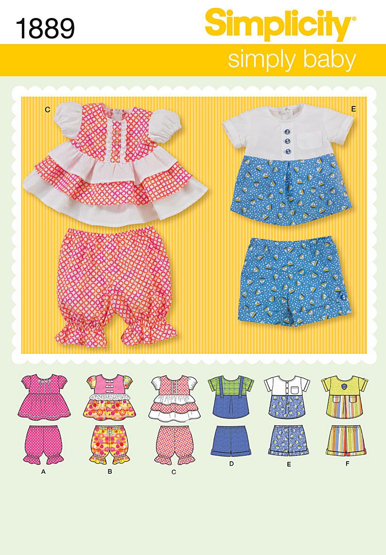 Simplicity Babies, Tops, Panties and Shorts 1889