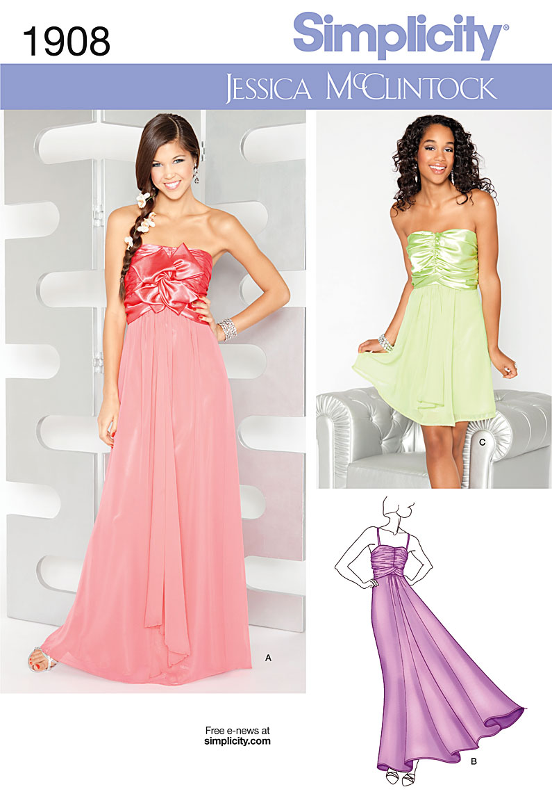NEW! RELEASE PROM PARTY EVENING DRESS GOWN SEWING PATTERN SIMPLICITY ...