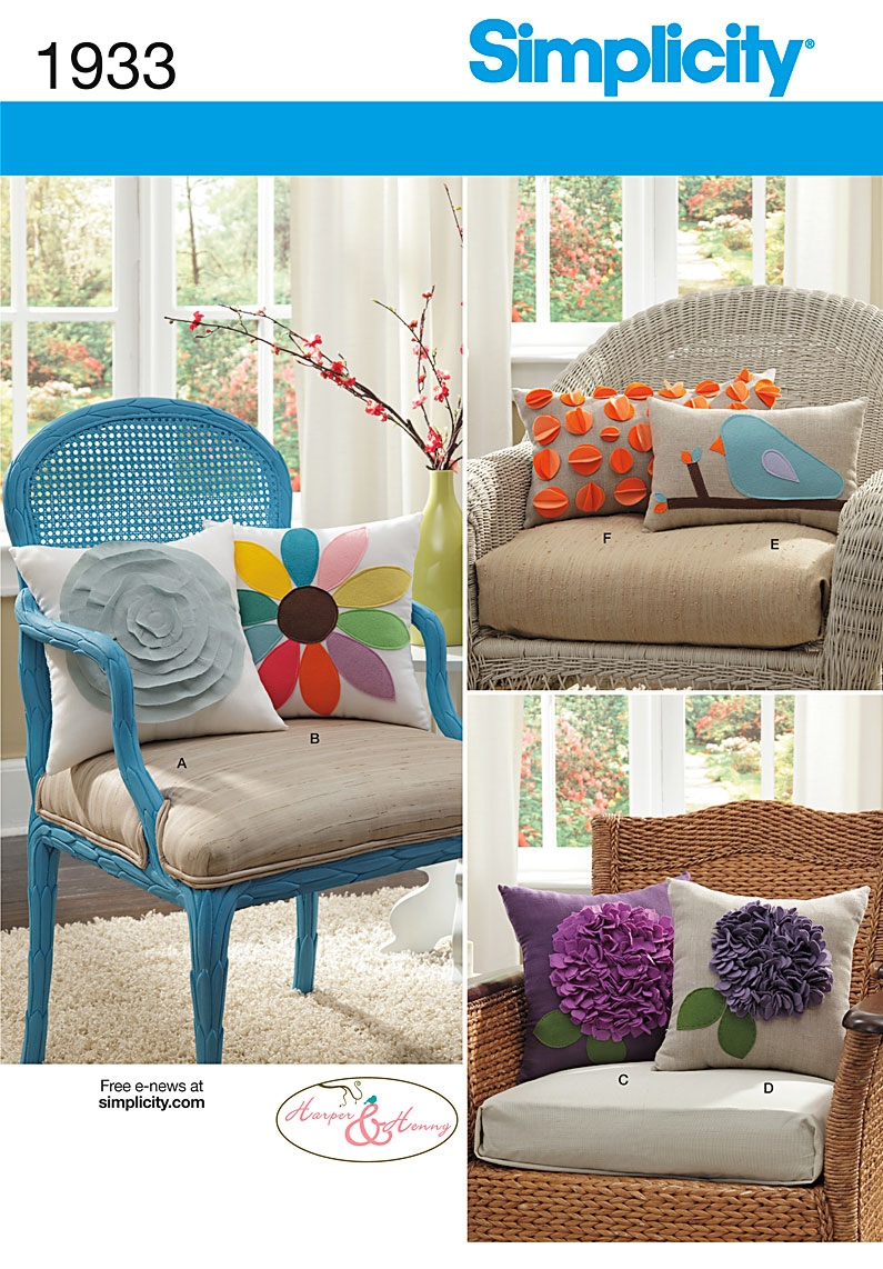 Decorative Pillows Sewing Patterns : Simplicity 1933 Decorative Pillows sewing pattern