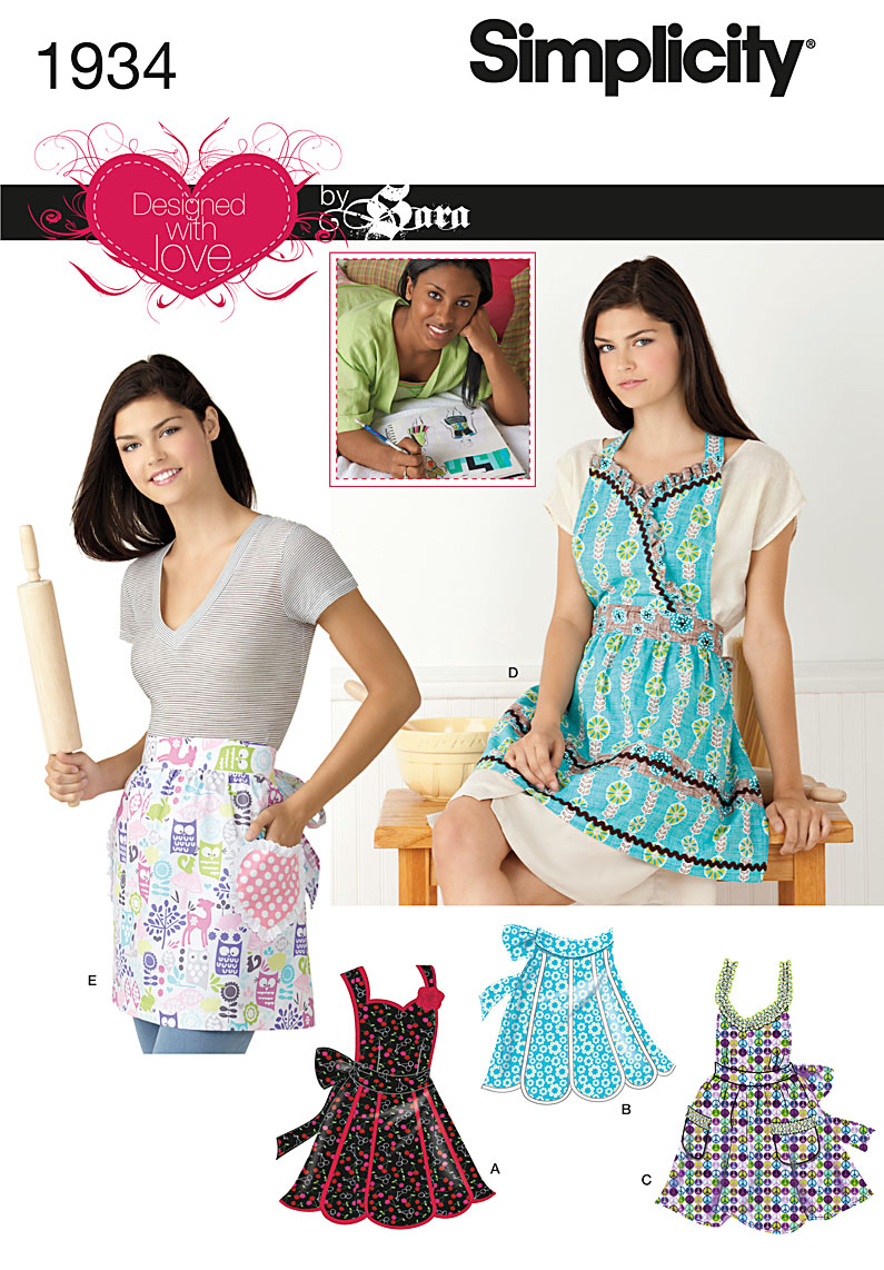 Simplicity Misses' Aprons Designed with Love By Sara 1934
