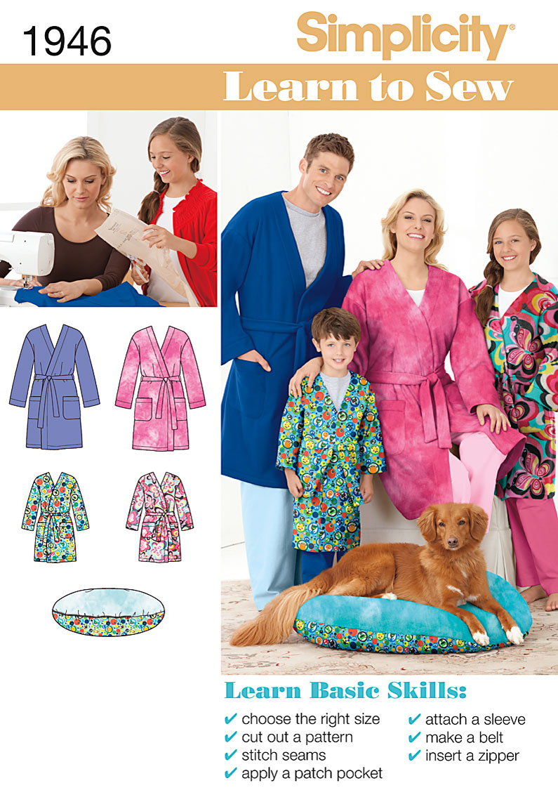 Simplicity Unisex Childs,Teens, and Adults Robe and Pet Bed 1946