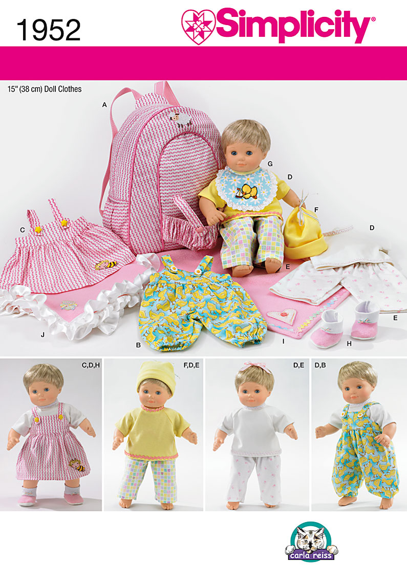 "... 1952 15"" Doll Baby Clothes, Blanket and Doll Carrier sewing pattern"
