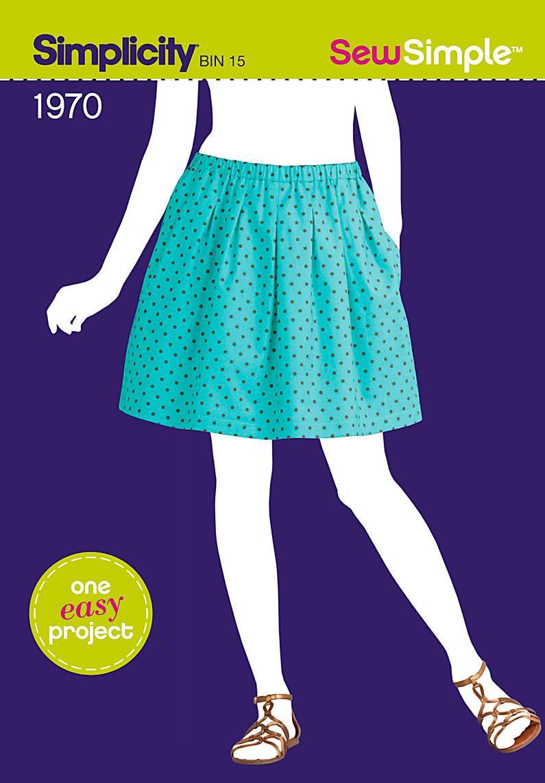 Simplicity Sew Simple Misses Pleated Pull on Skirt 1970