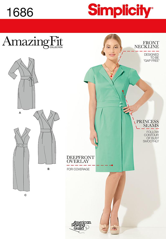 Simplicity Misses' & Miss Petite Amazing Fit Dress 1686
