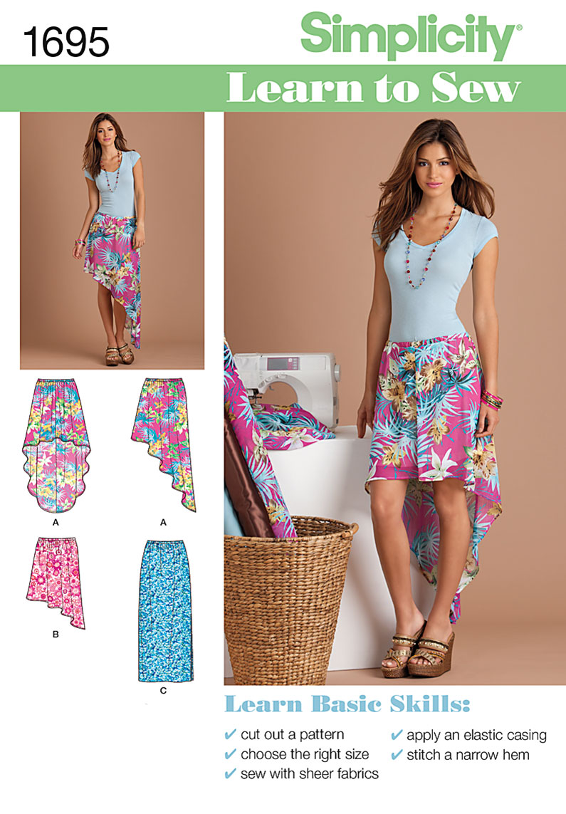 Simplicity Learn to Sew Misses' Pull-on Skirts 1695