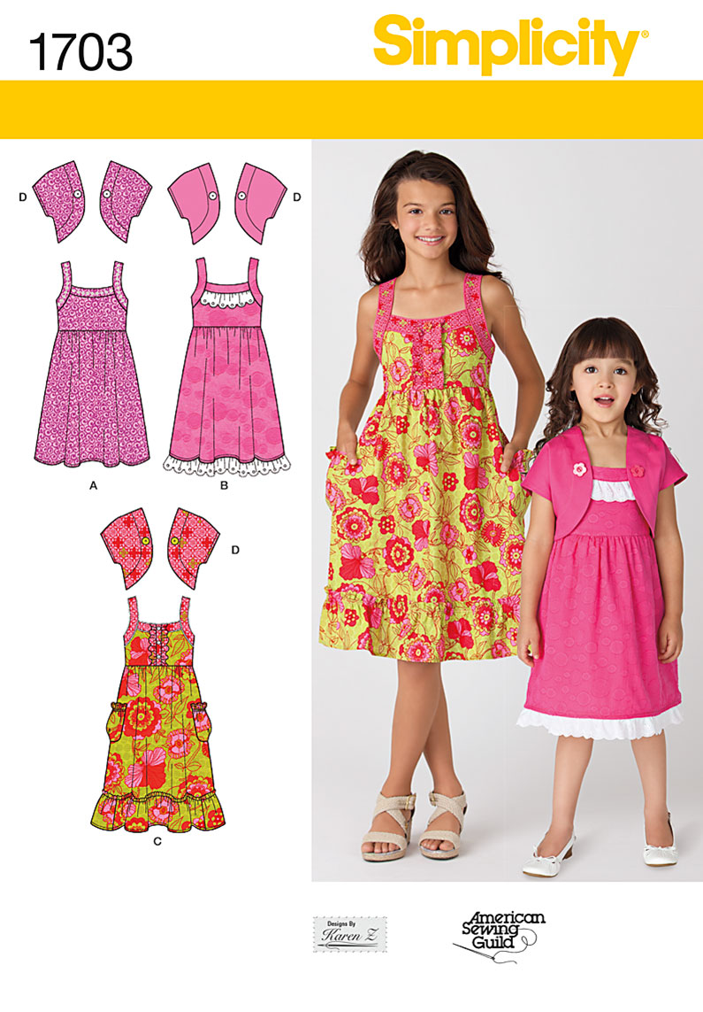 Simplicity Child's and Girls' Dress and Jacket 1703