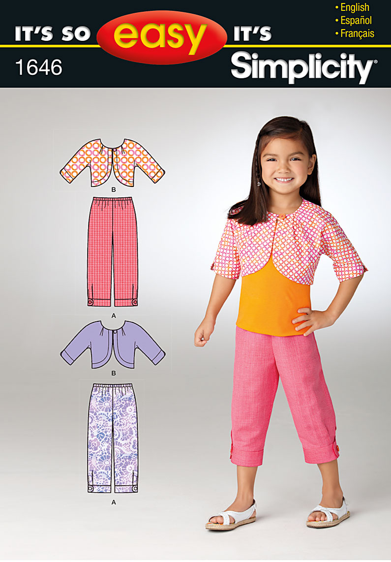 Simplicity Child's pants and Jacket 1646