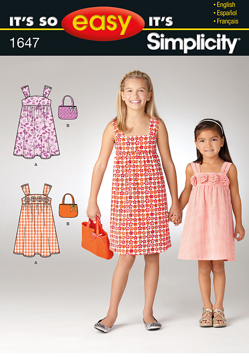 Simplicity Child's dress and bag 1647