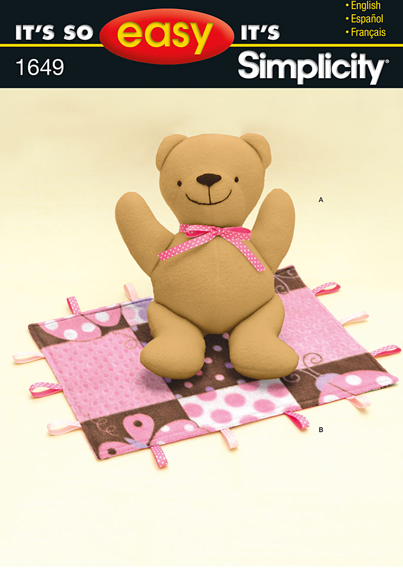 Simplicity Stuffed Bear and Blanket 1649