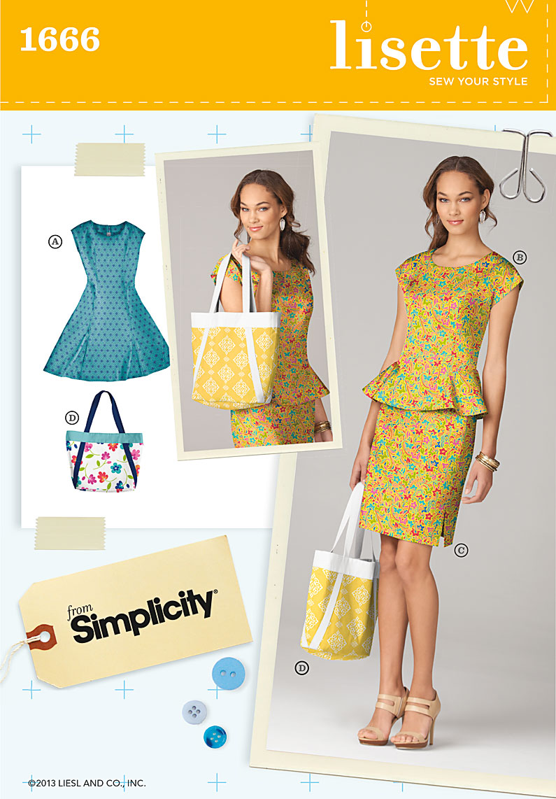 Simplicity Misses Dress, and Bag 1666