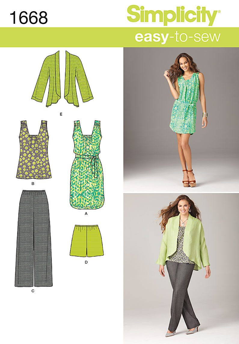 Simplicity Misses and Plus Dress, Tunic, Pants, Shorts and Jacket 1668