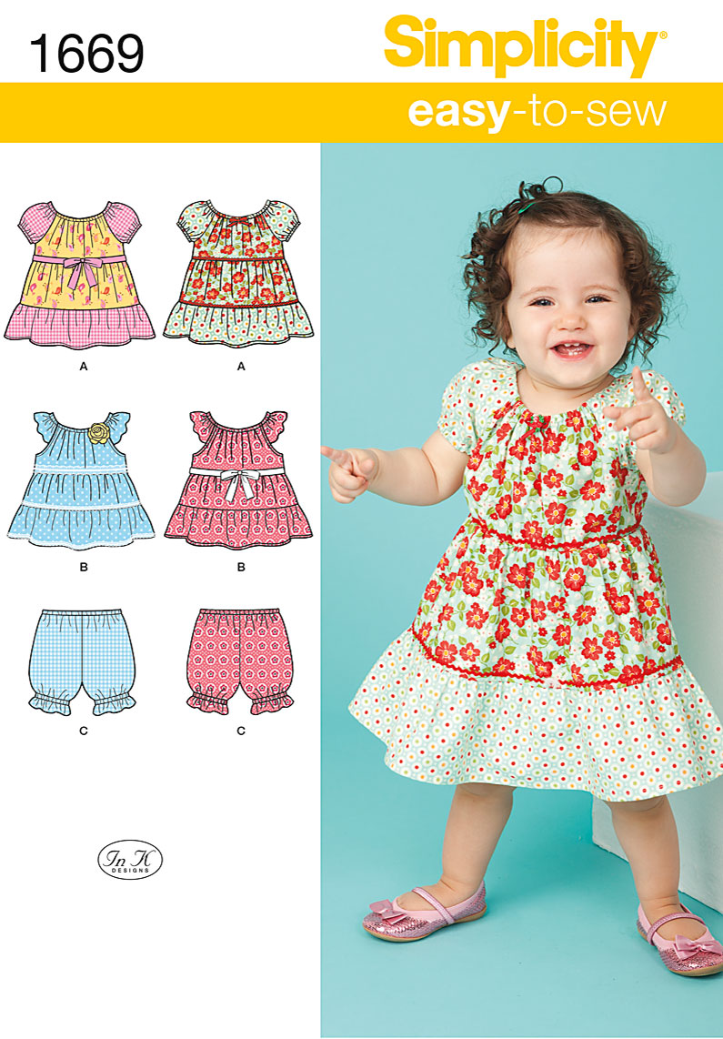 Simplicity Babies Dress, Top and Bloomers 1669