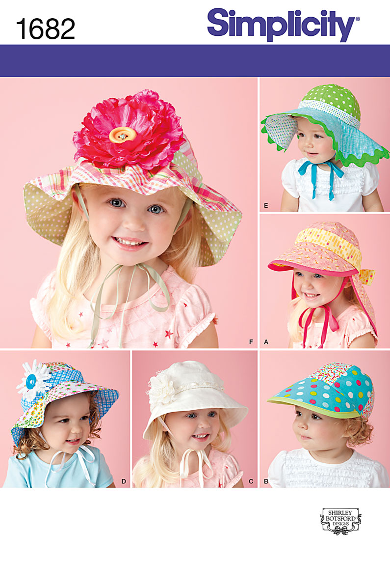 Simplicity Child's Hats in Four Sizes 1682