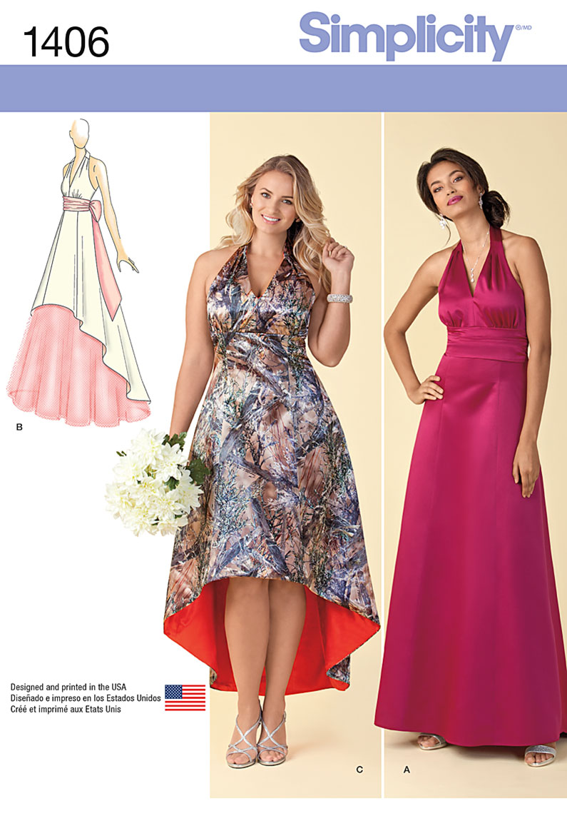Simplicity Misses' and Plus Size Special Occasion Dress 1406