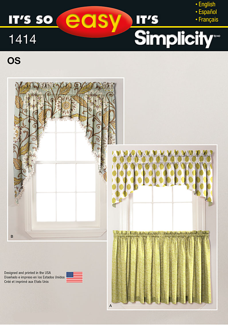 Simplicity 1414 it39s so easy valances and cafe curtains for Simple curtain patterns