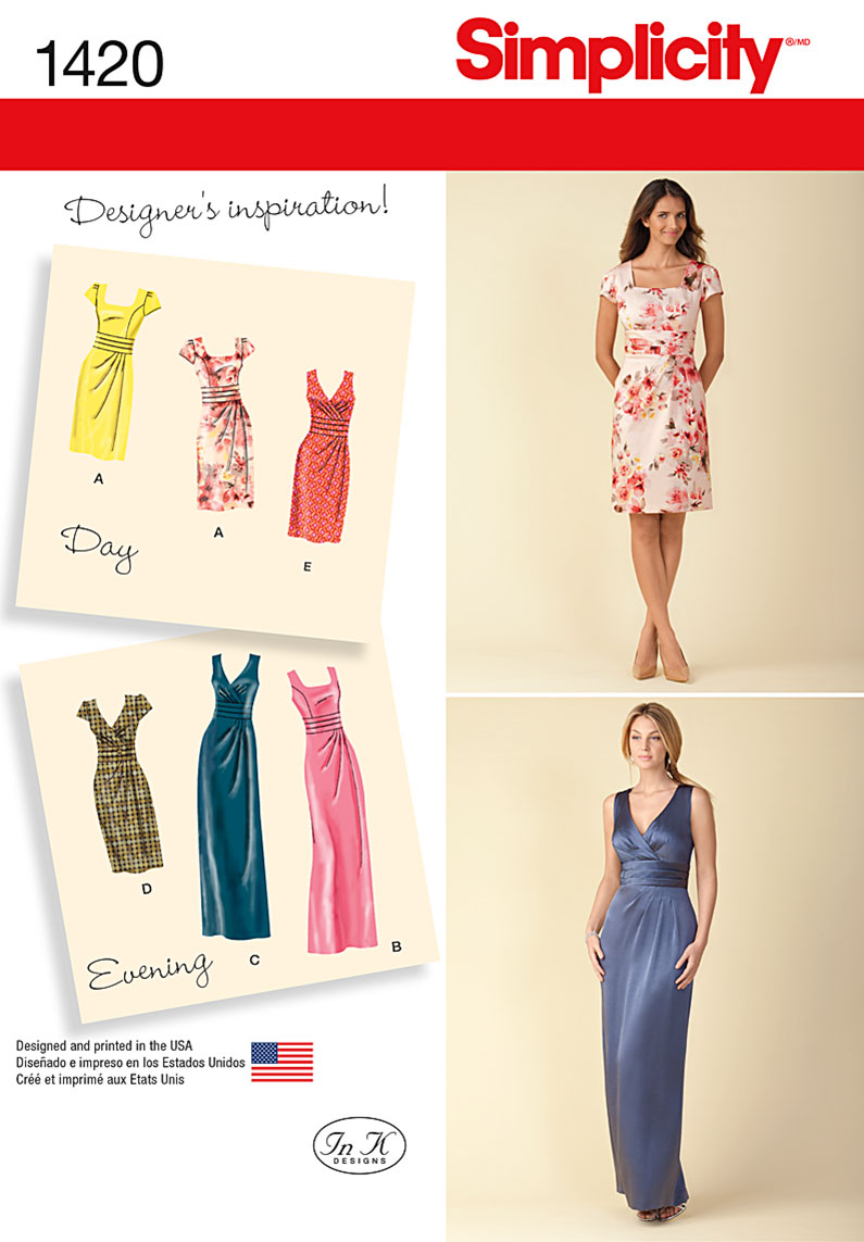 Simplicity Misses' Dress in Two Lengths with Bodice Variations 1420