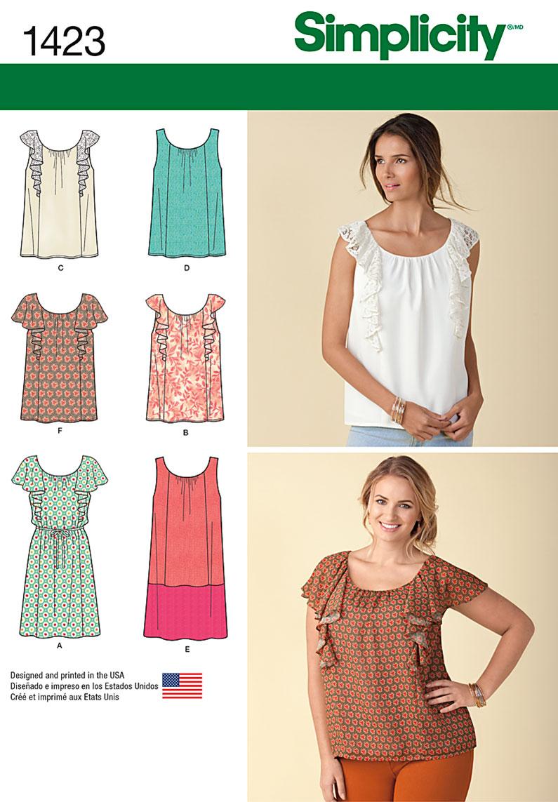 Simplicity Misses' Mini Dress or Top 1423