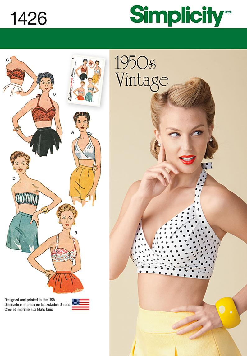 Simplicity Misses' Vintage 1950's Bra Tops 1426