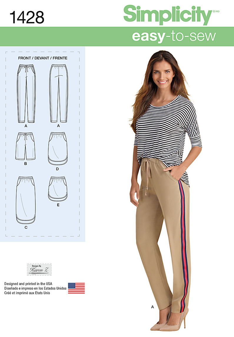 Simplicity Misses' Pull on Skirt in Three Lengths and Pants or Shorts 1428