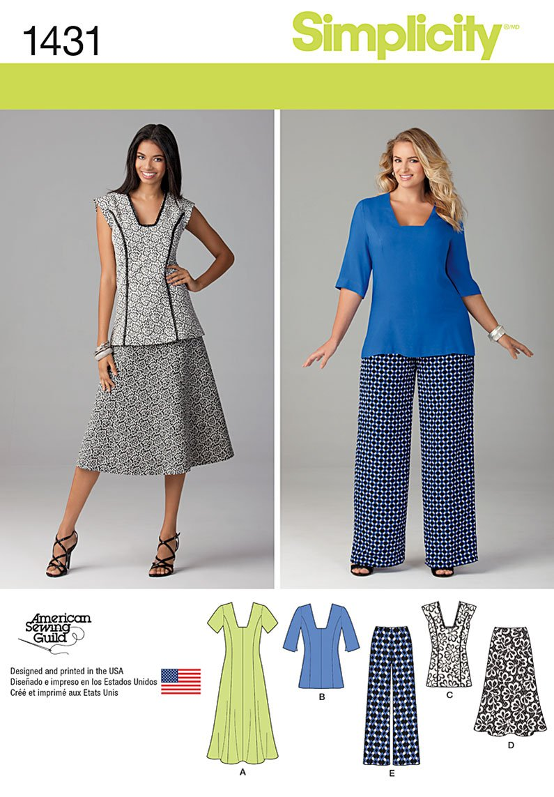 Simplicity Misses' and Miss Plus Dress or Tunic, Pants and Skirt 1431