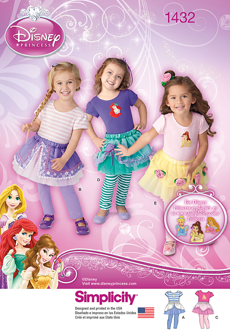 Simplicity Toddler's Disney Princess Tutus, Knit Top and Capri Leggings 1432