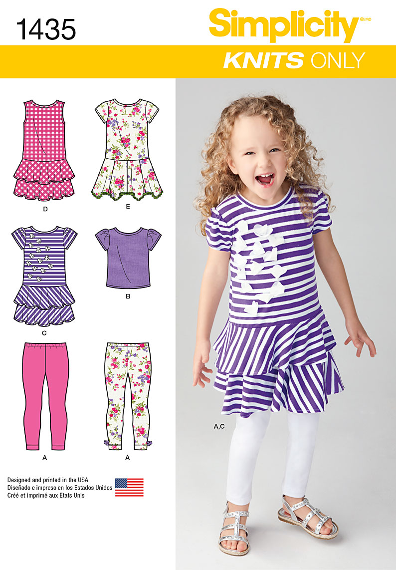 Simplicity Child's Knit Dresses, Top and Capri Leggings 1435