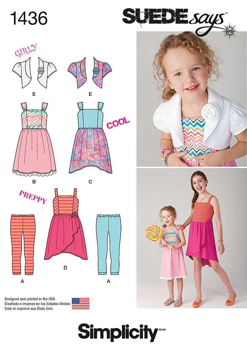 Simplicity Child's & Girls' Dress, Bolero & Knit Leggings 1436