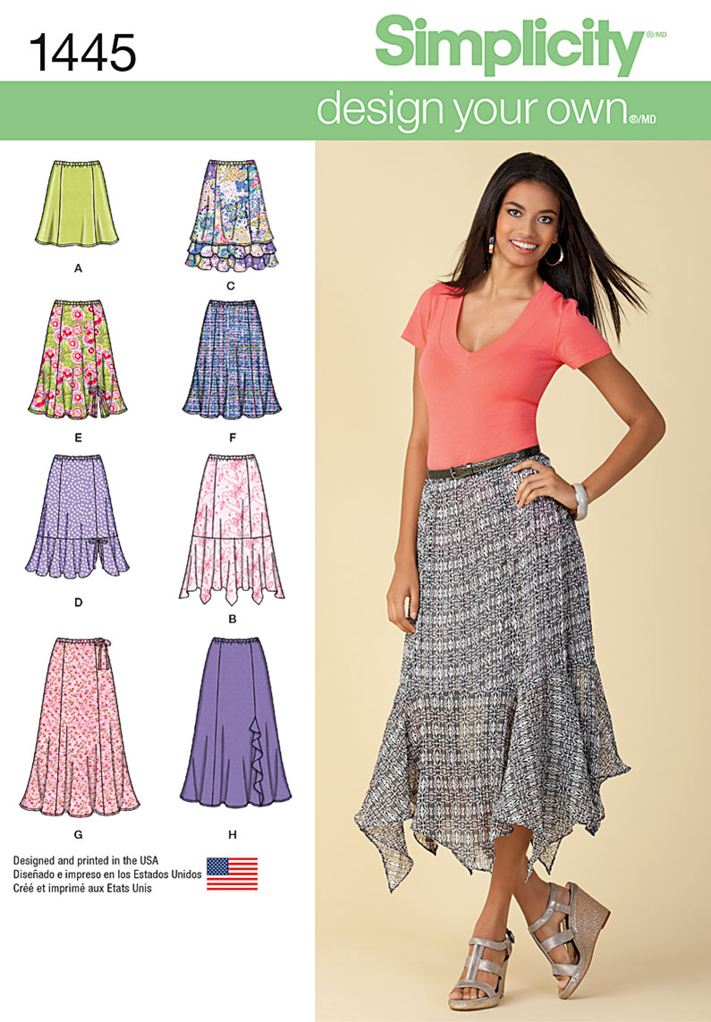 Simplicity Misses' Design Your Own Skirt with Length Variations 1445