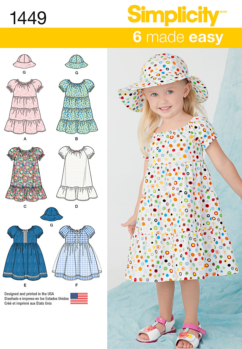 Simplicity Toddlers' Dress and Hat in Three Sizes 1449