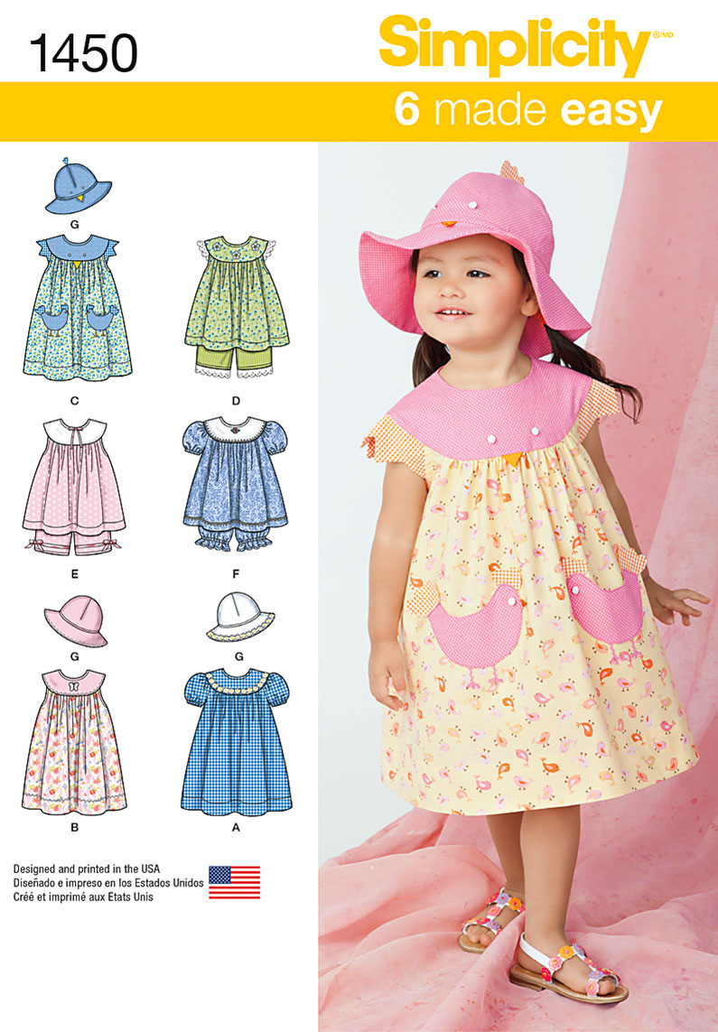 Simplicity Toddlers' Dress, Top, Panties and Hat 1450