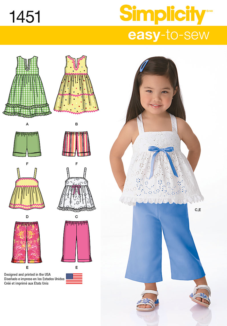 Simplicity Toddlers' Dresses, Top, Cropped Pants and Shorts 1451