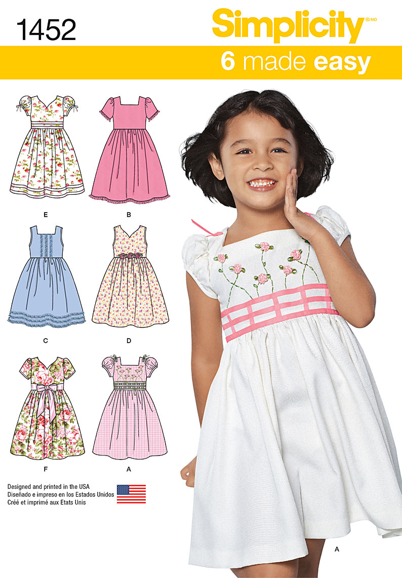 Simplicity Child's Dress with Bodice and Sleeve Variations 1452