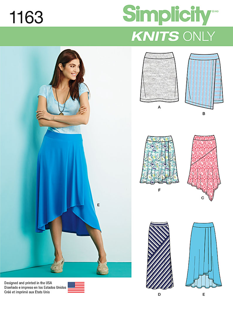 simplicity 1163 misses knit skirts with length variations