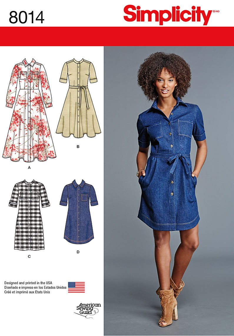 Simplicity 8014 Misses' Shirt Dress sewing pattern