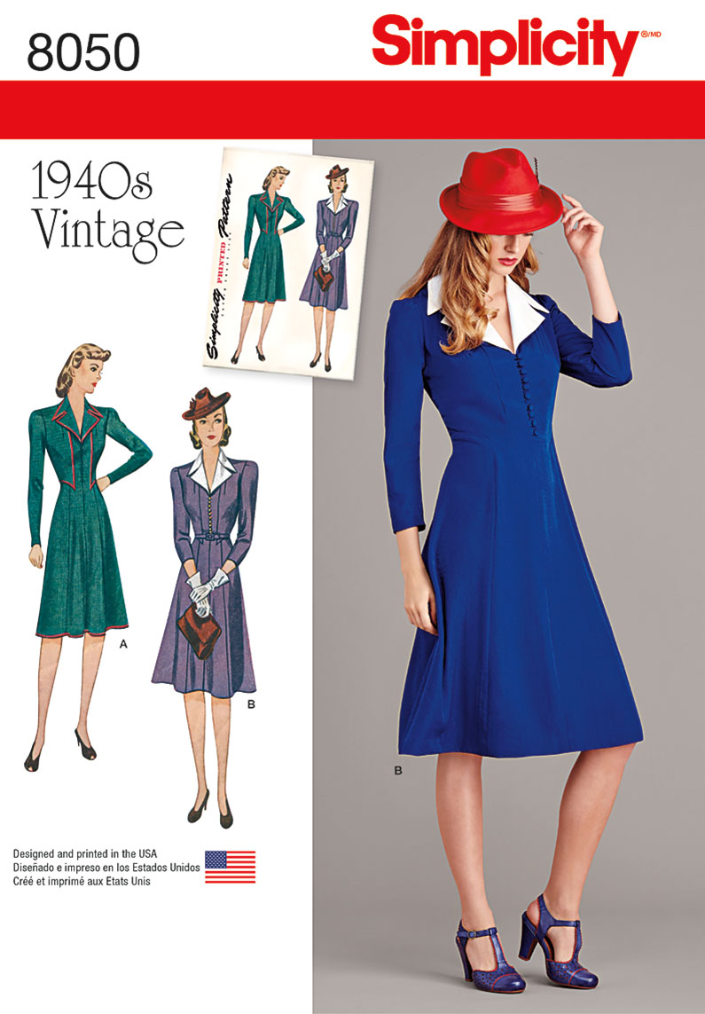 simplicity 8050 vintage 1940s dress pattern sewing pattern