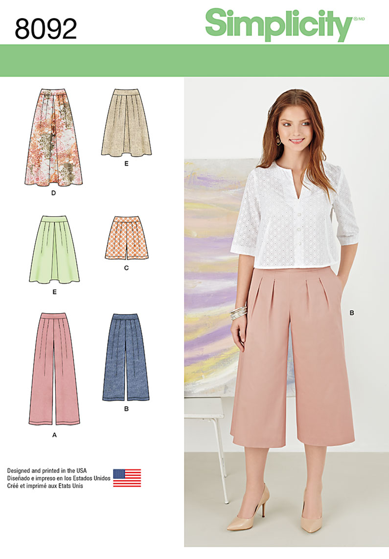 simplicity 8092 misses skirts pants culottes and shorts