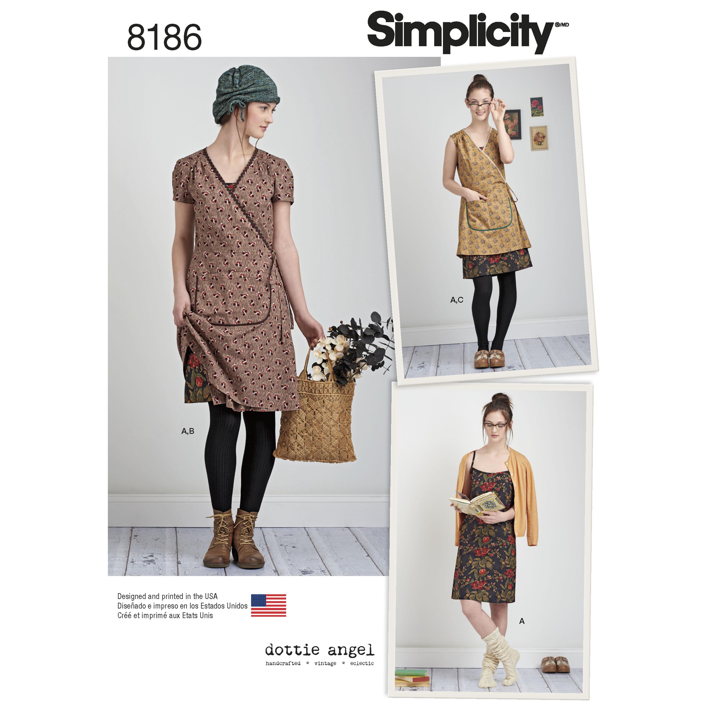 Simplicity 8186 Dottie Angel Wrap Dress And Slip Dress