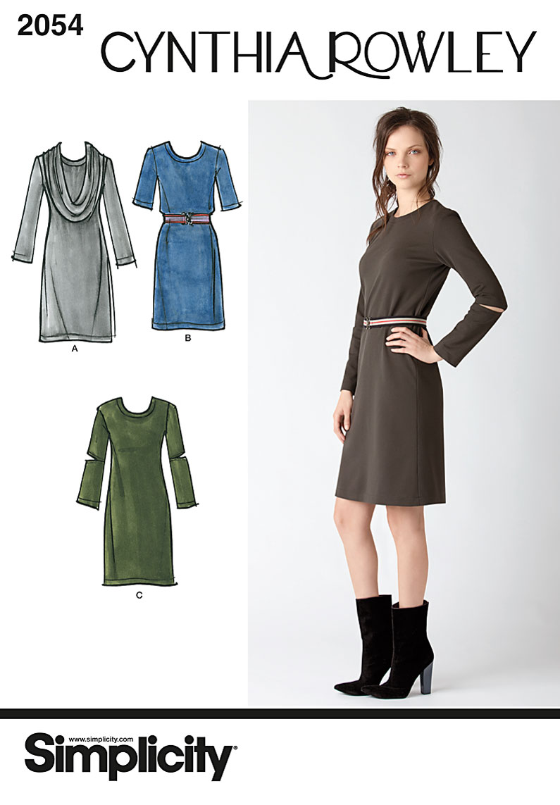 Simplicity Misses knit dress and cowl collar 2054