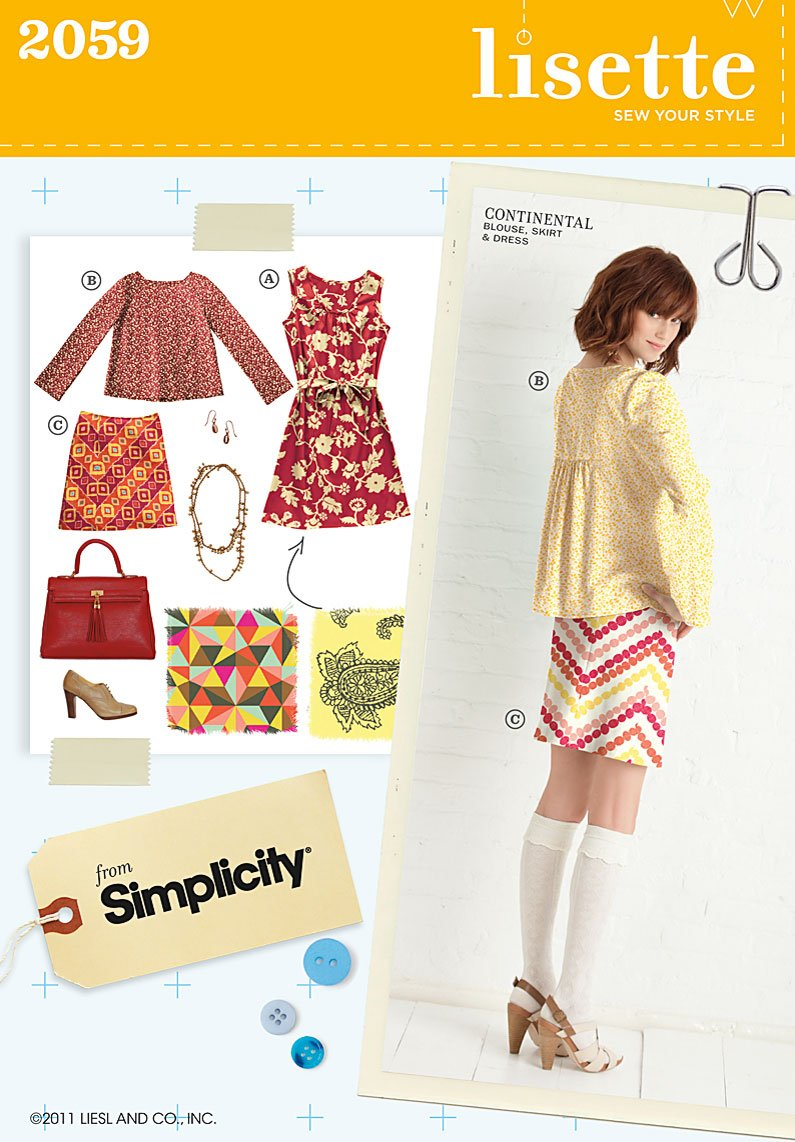 Simplicity Misses Dress, blouse and skirt 2059