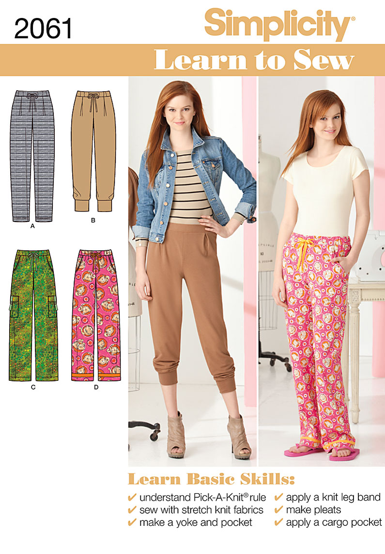 Simplicity Misses knit and woven pants 2061