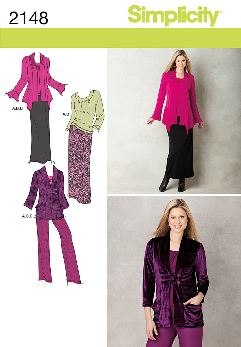 Simplicity Misses Pants, Skirt, Top and Cardigan 2148