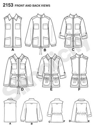 Simplicity 2153 Misses Anorak Line Drawing