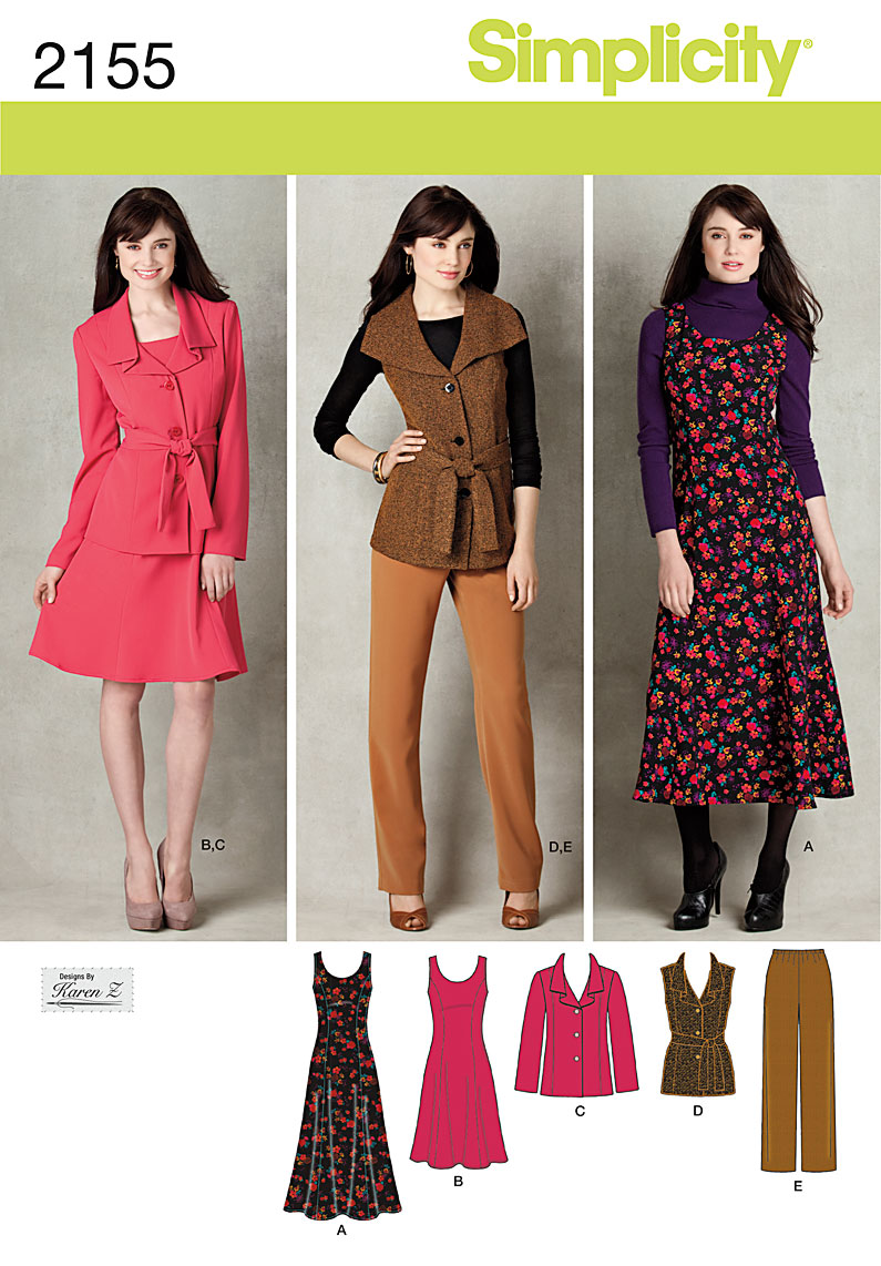 Simplicity Misses/Womens Jumper, Pants and Jacket or Vest, and Belt 2155