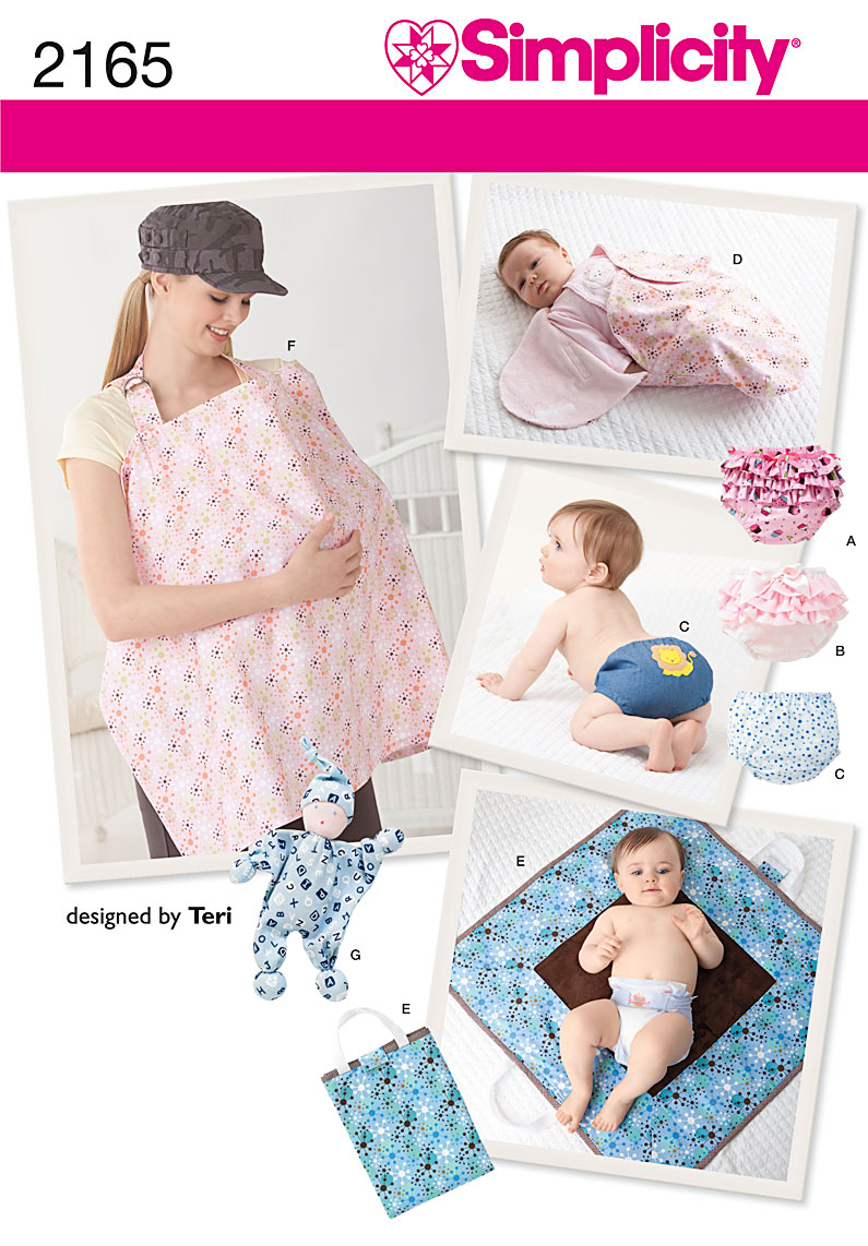 Simplicity Babies Diaper Covers, Nursing Shield, Changing pad, doll, Swaddling Wrap 2165