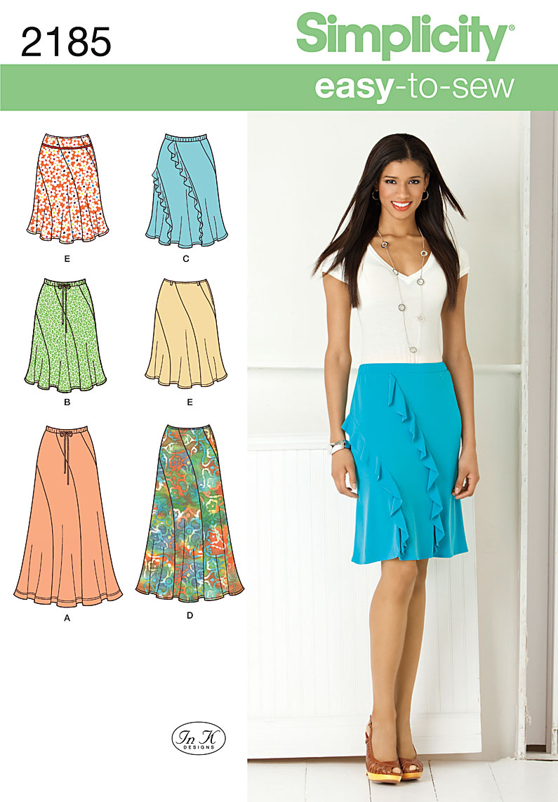 Simplicity Misses' Easy to Sew Skirts 2185